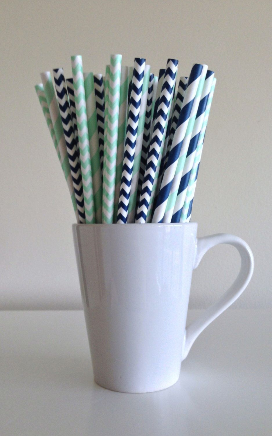Mint green and navy blue paper straws navy and mint striped and