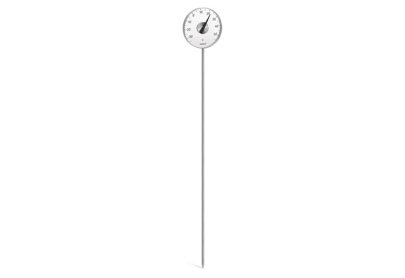 Das Gartenthermometer ist für den Garten und auch für den Blumenkasten und Pflanzkübel geeignet, da der geteilte Erdspieß sich in der Höhe variieren lässt.  Tiefe in cm: 2,5; Höhe in cm: 142. Farbe: Edelstahl....