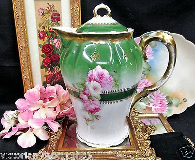 GERMAN COFFEE POT TEAPOT ROSES AND GREEN GERMANY TEAPOT