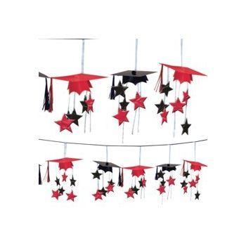Red Graduation 3D Garland