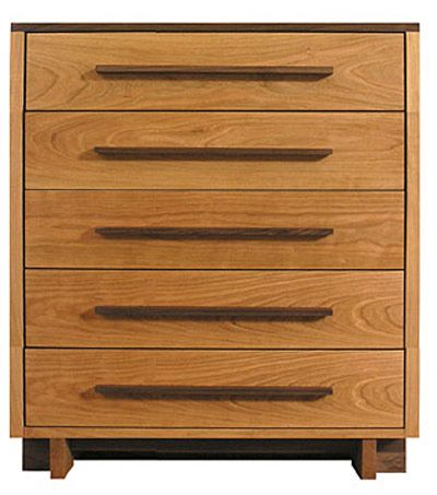 Modern American 5 Drawer Chest Shown In Natural Cherry With Black Walnut Top And