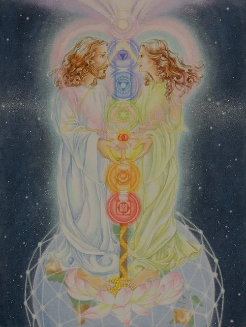 Cosmic Rebirth Twin Flame Art Mary Magdalene And Jesus Sacred Marriage
