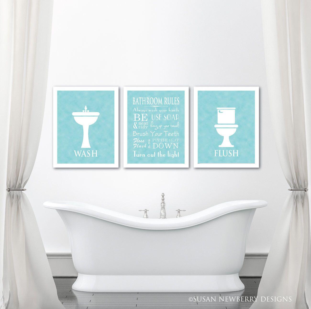 Bathroom Wall Art Trio Bathroom Rules Chalkboard Print Wash Flush Use Soap Brush Your Teeth Floss Bathroom Typography Wall Decor Typography Wall Decor Bathroom Wall Art Bathroom Rules