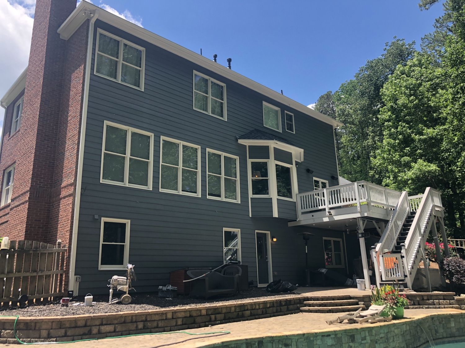 After Fighting Againts Time And Rain House Is Finally Done And Looking Good Deck Maintenance Exterior Paint House Styles