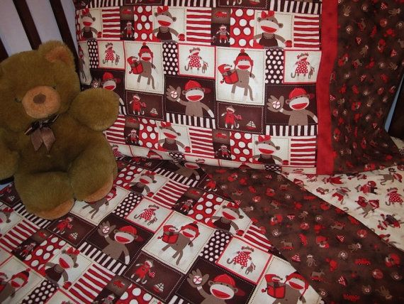 Reserved For Megan Sock Monkeys Print Comforter And 3 Pc Sheet Set