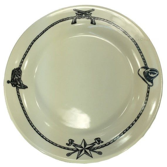 Sky Ranch Dinner Plate with Western Cowboy Accents in Black - Casual Dinnerware #casualdinnerware
