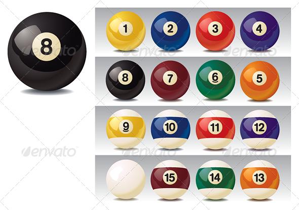 Realistic Vector Billiard Balls Billiards Billiard Balls Illustrator Cs
