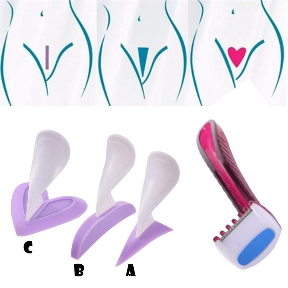Bikini Bikini Hair Removal Trimmer Privates Shaving Stencil Razor Female Secret Intimate Hair Shaving Kit 3 Shapes 2u812 Shaving Beard Bikini Hair Hair Removal