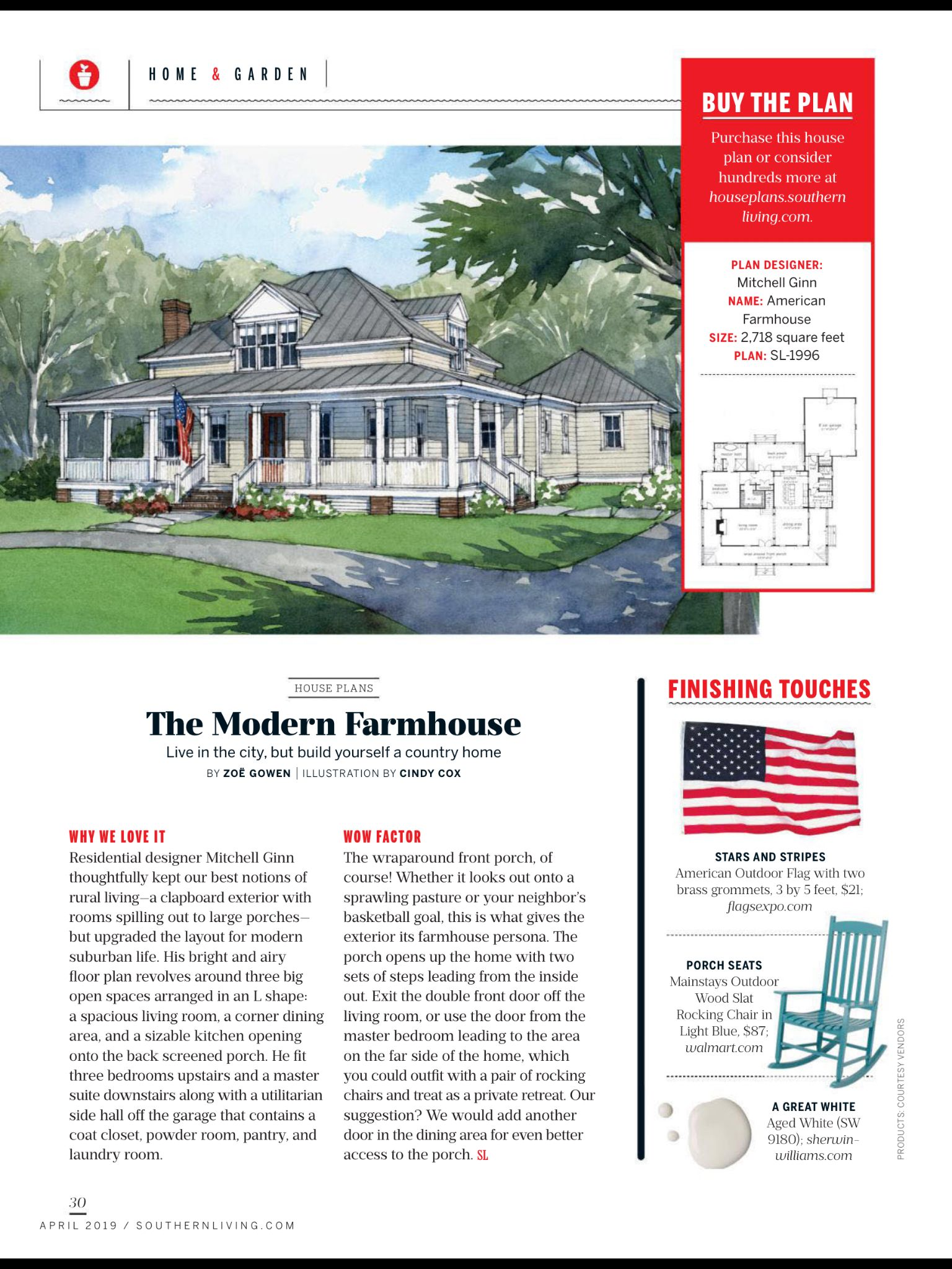 House Plans Live In The City But Build A Country Home From Southern Living April 2019 Read It On The Textu House Plans American Farmhouse Southern Living