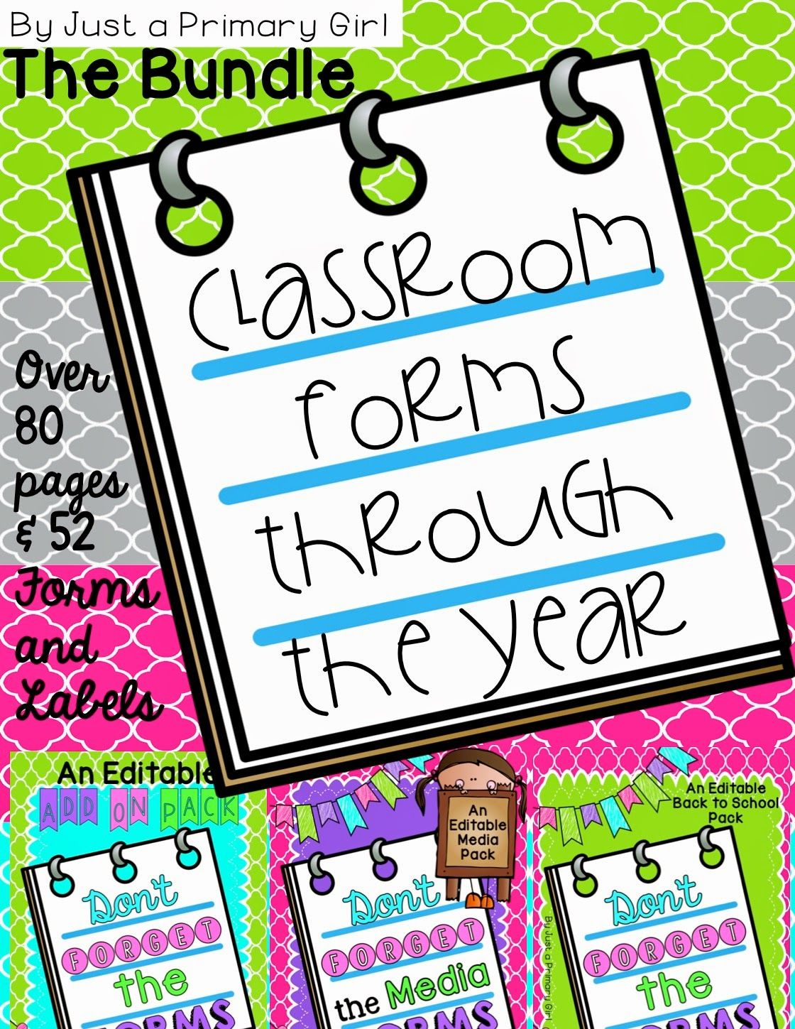 Classroom forms for the entire year!!! staying organized!