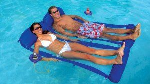 Two H2o Hammock Swimming Pool Water Float Raft With Cup Holders