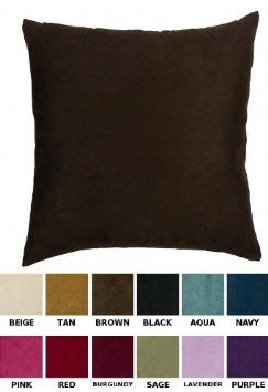 Tan Color Faux Suede Pillow Cover with
