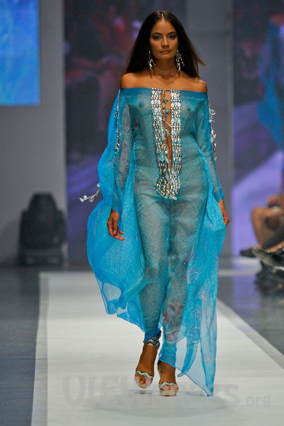"""A Model Displays a creation by Gianina Azar at the Caribbean Fashion Week DR 2011 in Santo Domingo May 2011. Dominican Republic opened the Caribbean Fashion Week DR 2011where National and international fashion designers will be displaying  their collections, Its new brand """"Caribbean Fashion Week DR 2011"""" is thanks to alliance with the organizers of New York Fashion Week and Puerto Rico's High Fashion Week. ViewPress/ ZZ"""