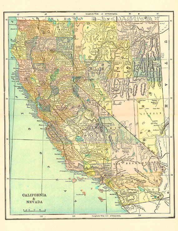 California Map Download.Map Of California Over 100 Years Old A Printable Digital Download