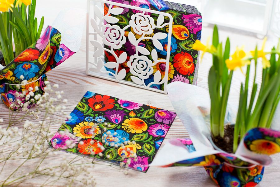 Serwetki Papierowe Folk Lowickie Czarne Gift Wrapping Gifts Wrap