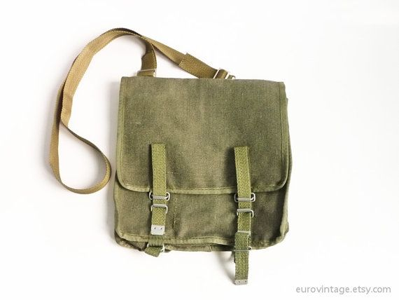 Vintage Military Bag Canvas Green Messenger Army