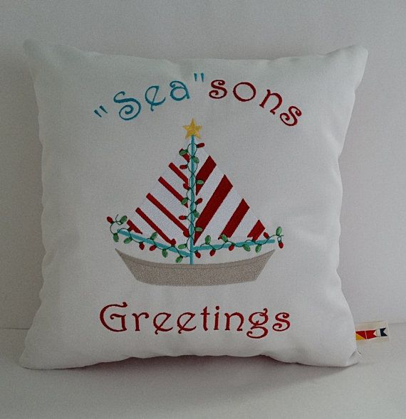 SEASONS GREETINGS Custom Embroidered Christmas Pillow Cover Indoor Enchanting Outdoor Christmas Pillow Covers