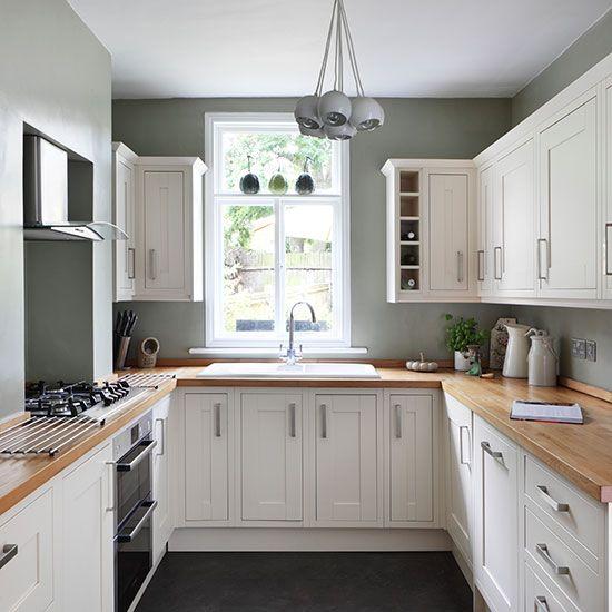 White And Sage Green Country Kitchen Interior Design Pinterest