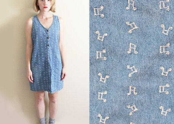 dba3185042949 vintage jumper 90s denim dress abstract embroidered by 90sTimes ...