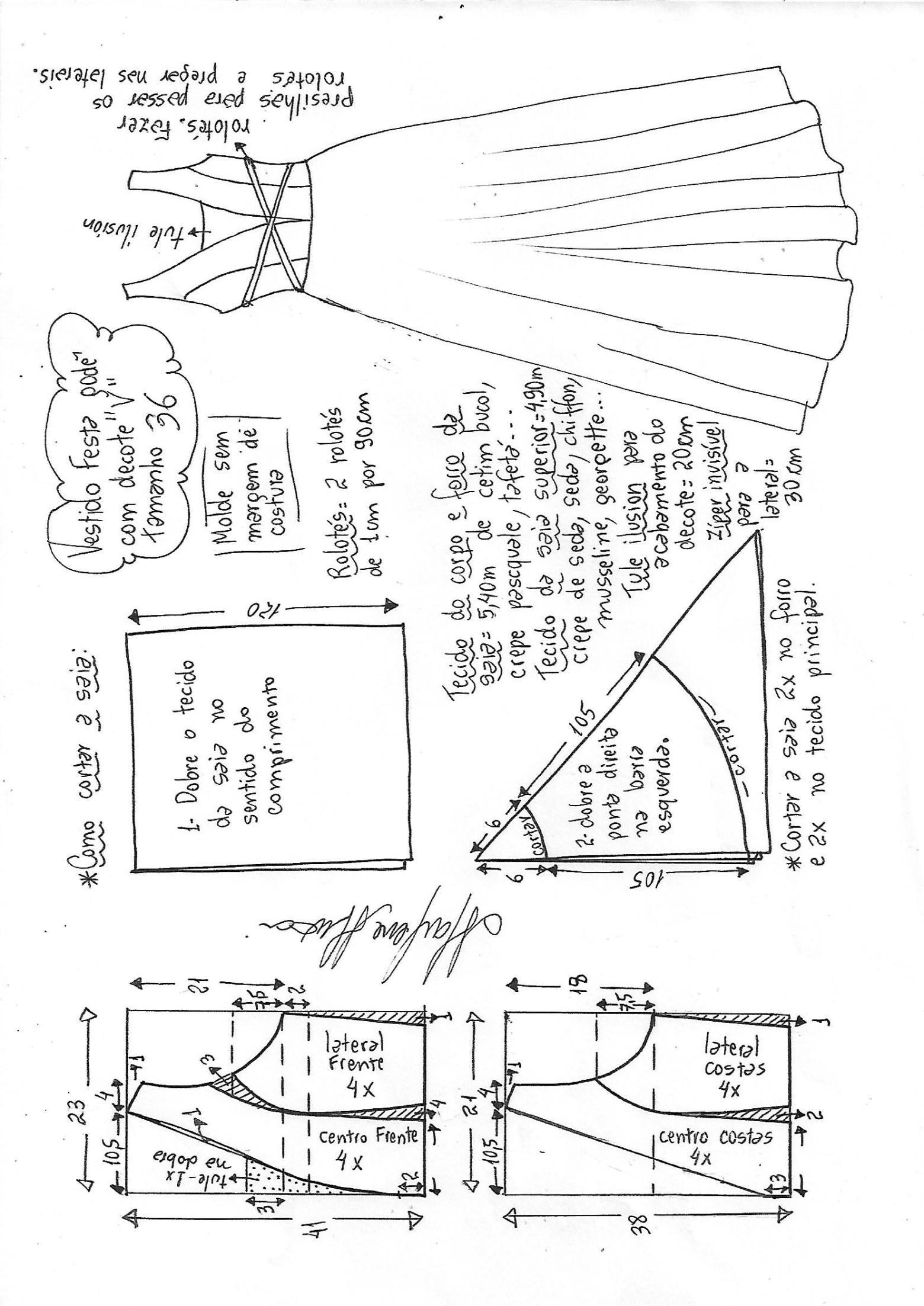 Vestido de fiesta godê com decote v | Bricolaje - molde, corte y ...