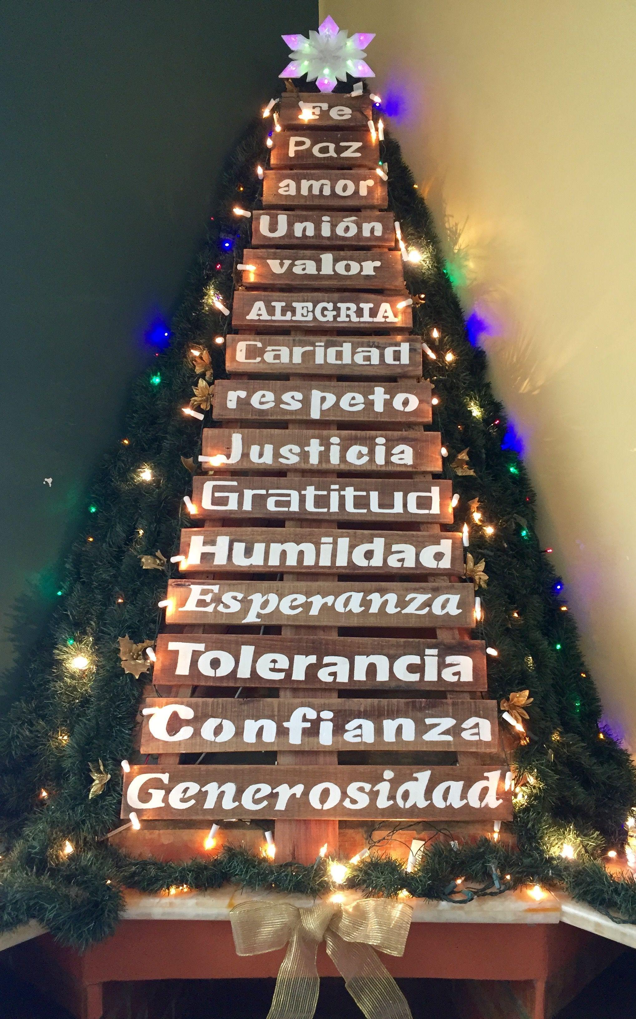 Arbol de navidad hecho con madera reciclada navidad for Adornos navidenos hechos con reciclaje