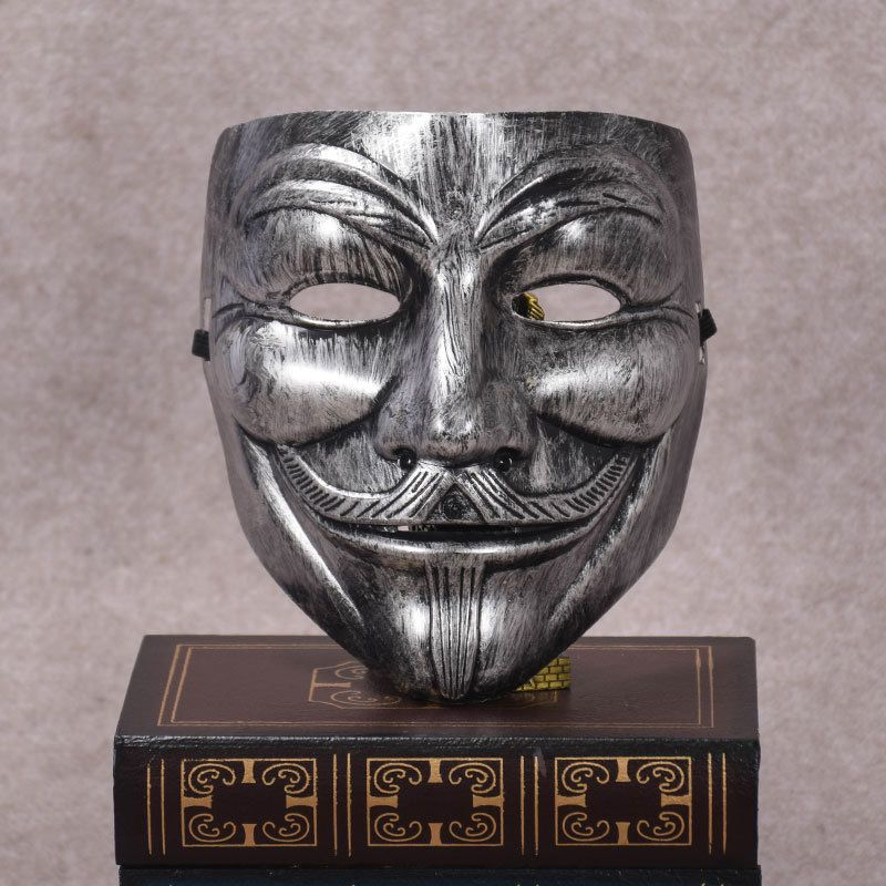 Halloween Adult Mask V For Vendetta Mask Kill Team Silver