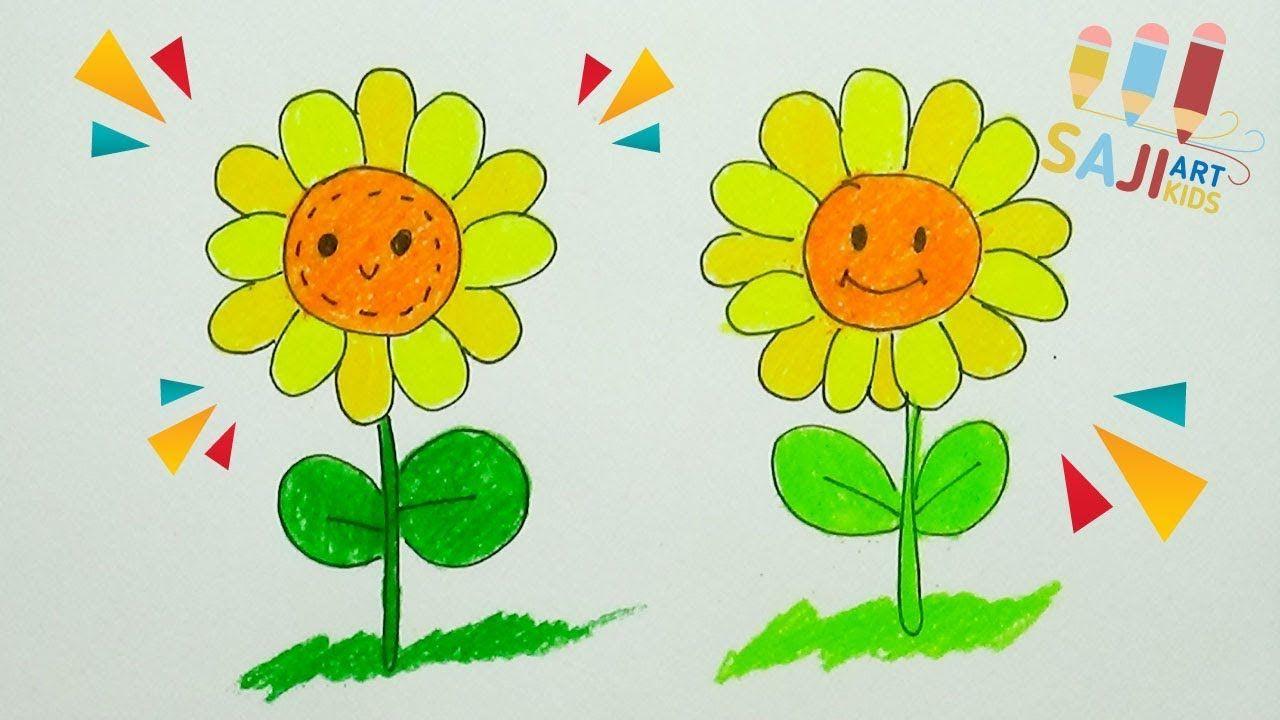 วาดร ประบายส ไม สวยๆ วาดร ปดอกทานตะว น How To Draw A Sunflower Step คำคมต ดตลก