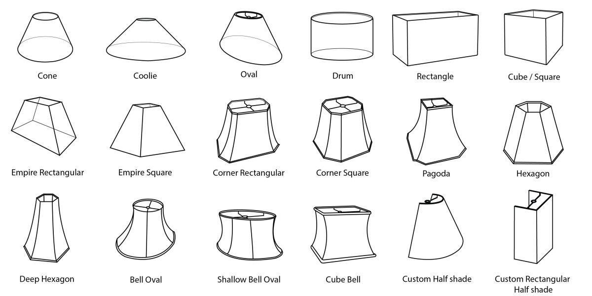 Image result for lampshade shapes Lampshade designs
