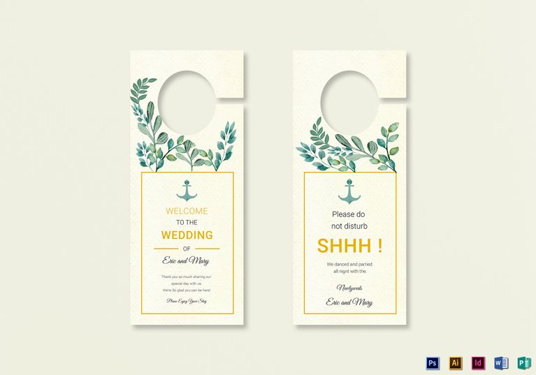 Nautical Wedding Door Hanger Template  Wedding Invitation Templates
