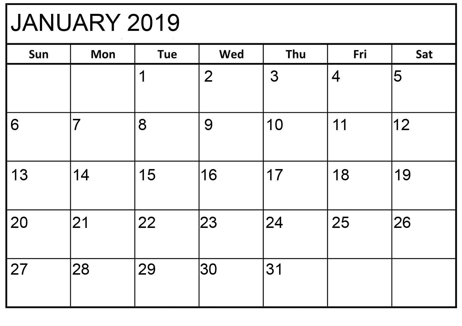 January 2019 Downloadable Calendar January 2019 Calendar Printable HTML | January 2019 Calendar