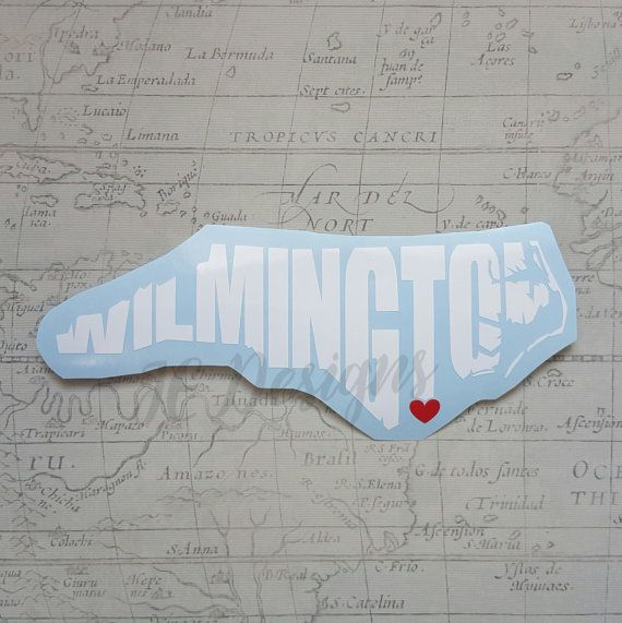 Wilmington north carolina nc vinyl decal with heart love state city cutout car decal yeti cup decal