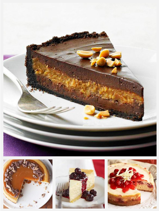 Daily Dish: Decadent cheesecakes. Get more Daily Dish recipes here: http://bhgfood.tumblr.com/post/28335639163/daily-dish-happy-national-cheesecake-day-wed