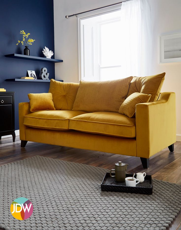 Not only comfortable but stylish too. Yellow velvet sofa ...