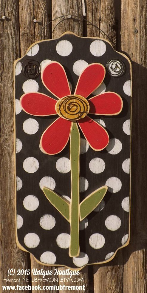 Daisy Red FLOWER wood Door Hanger Black White Polka Dots Decor Hanging Garden art spring summer wooden sign plaque