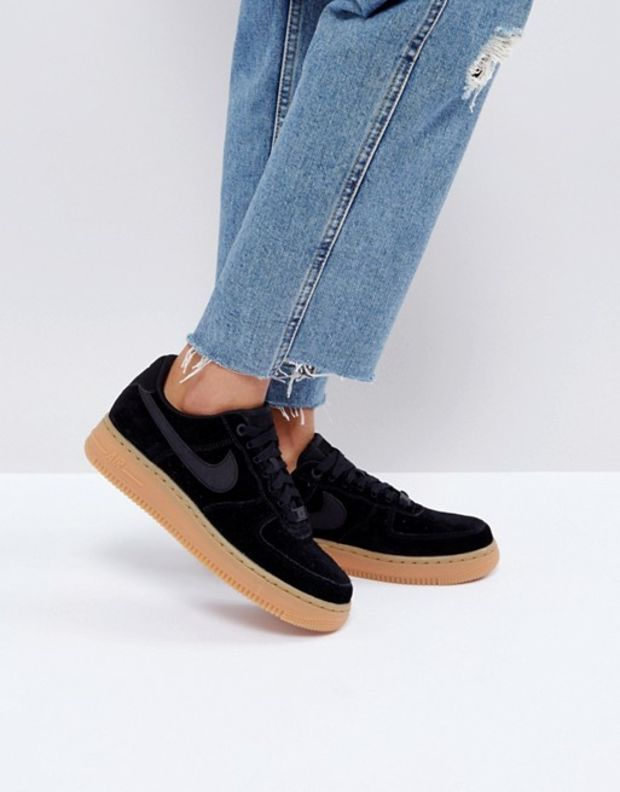 the best new design affordable price Nike Air Force 1 '07 Trainers In Black Suede With Gum Sole at asos ...