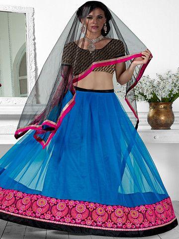 Blue and Pink Designer Lehenga ronakrirti