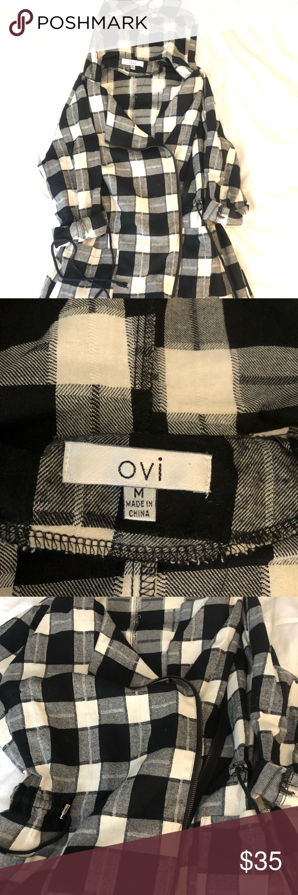 ADORABLE PLAID JACKET LOVE this pea coat style lightweight jacket- size M diagonal zipper with hood. Great condition Ovi Jackets & Coats #myposhpicks