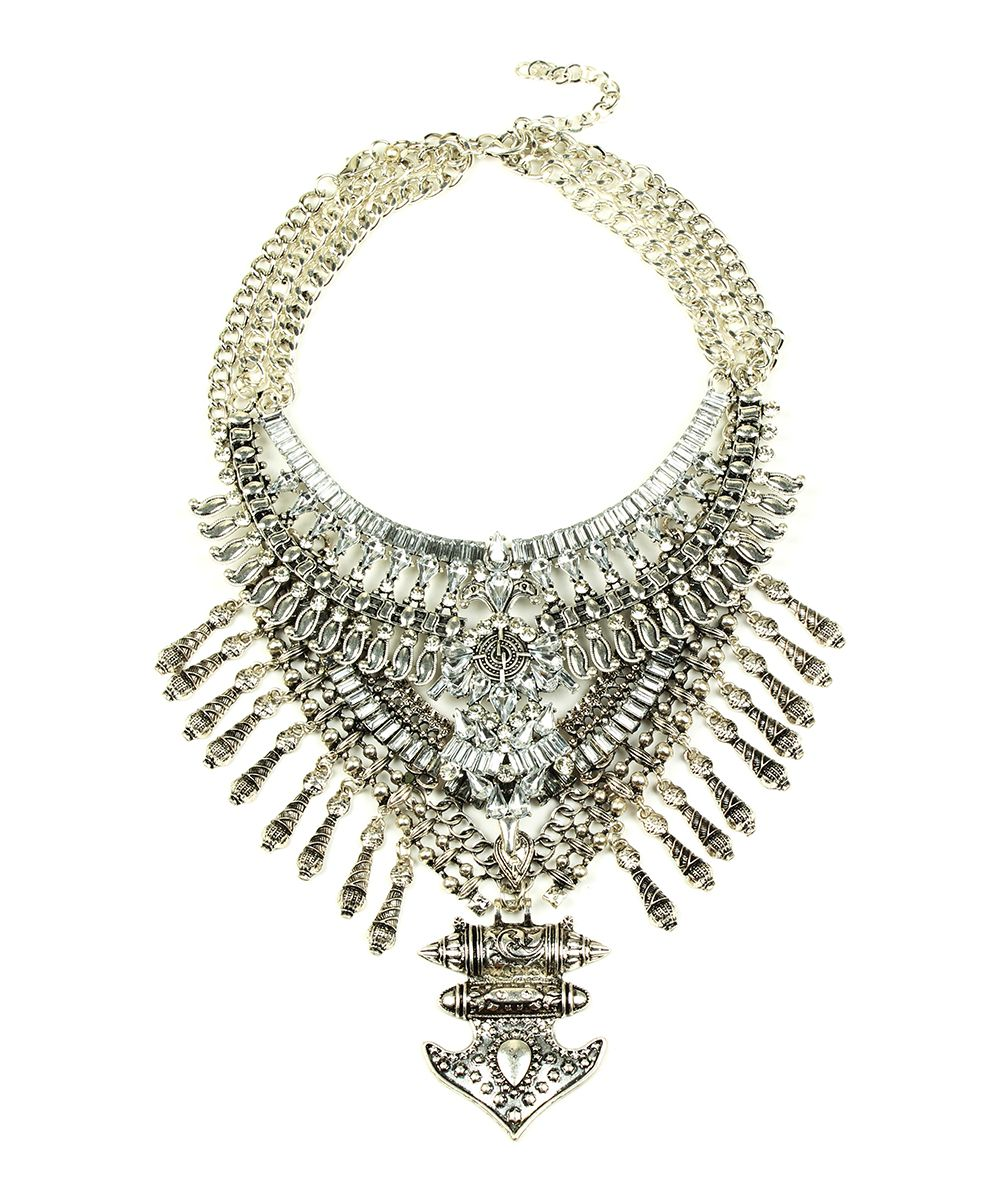 Crystal & Silvertone Layered Bib Necklace