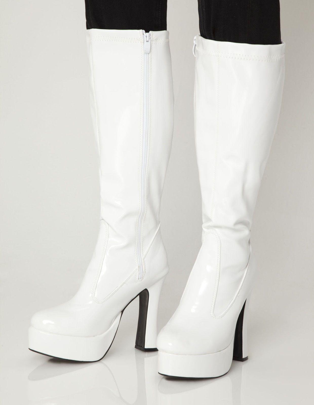 White Patent Platform Go Go Womens Boots