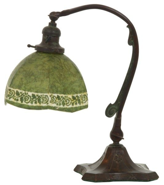 Handel Mosserine Arts Amp Crafts Desk Lamp Hexagonal Opal Glass Shade Is Obverse Painted With A Green Mosserine Finish And Stencil Craft Desk Desk Lamp Lamp