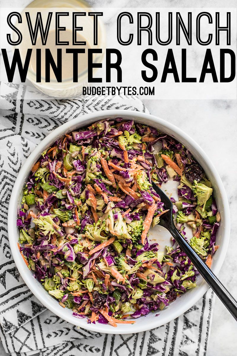 When fresh vegetables are in short supply, make this Sweet Crunch Winter Salad packed full of winter vegetables and a homemade Maple Tahini Dressing. BudgetBytes.com