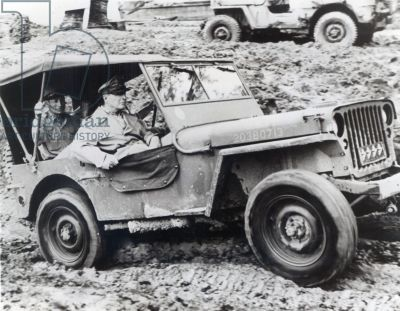 General Douglas Macarthur Riding A Jeep On Leyte During The Second World War B W Photo World War Two Jeep Leyte