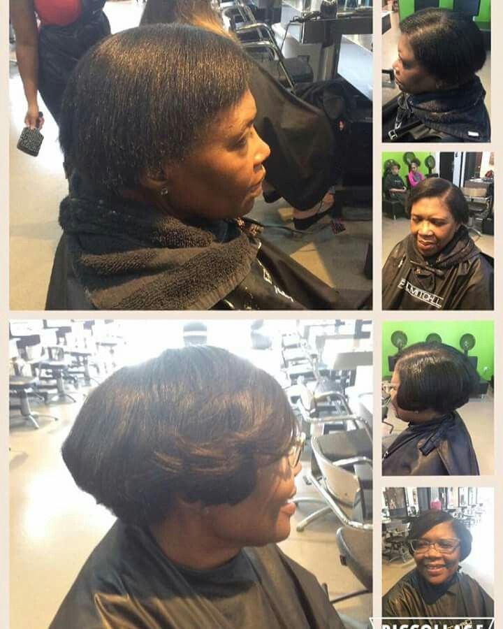 Relaxer Wash Blow Dry Glue In Extensions On The Sides Where She