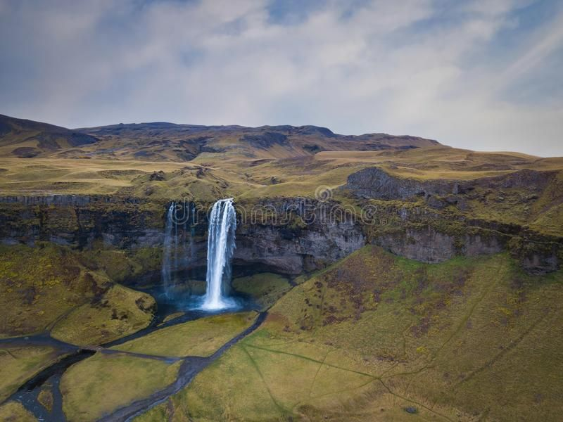 Aerial view of Seljalandsfoss waterfall in Iceland. The landscape and scenery wh , #sponsored, #waterfall, #Iceland, #Seljalandsfoss, #Aerial, #view #ad