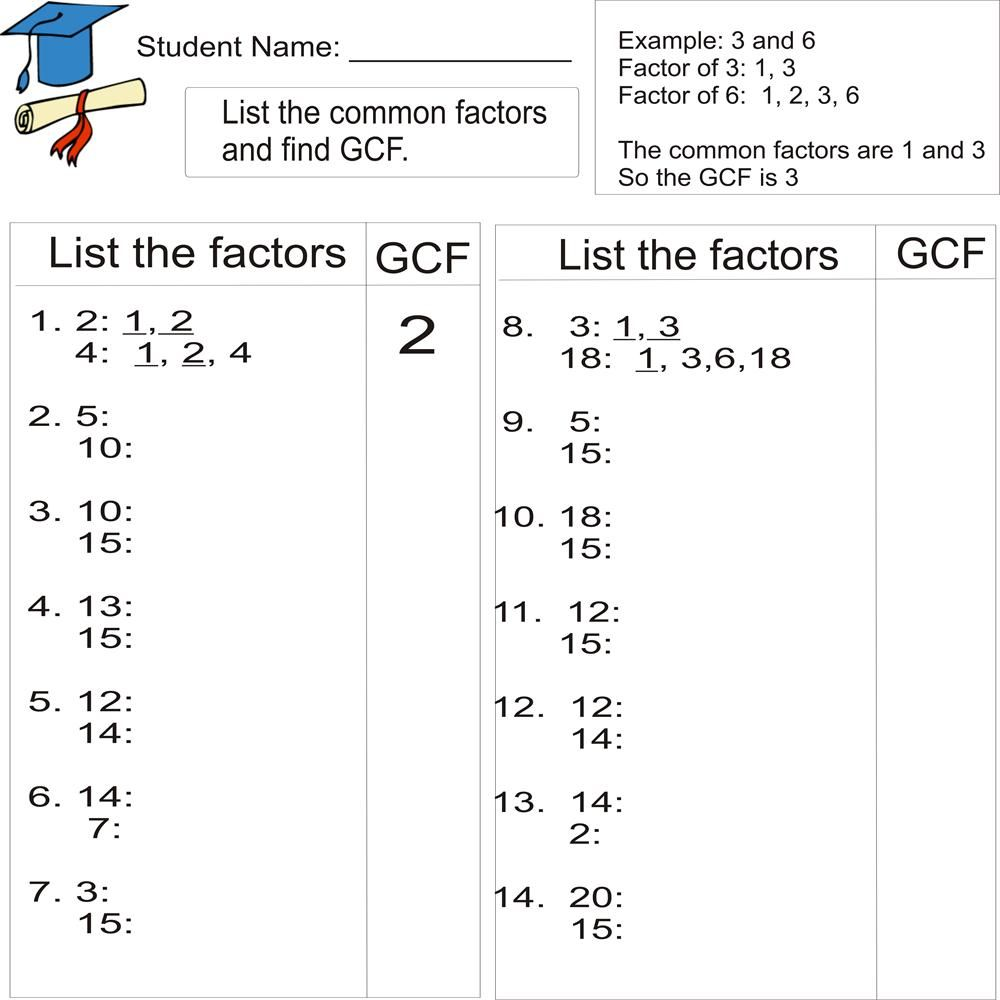 Greatest common factor 1to 20 from Study Village website – Factors Worksheets