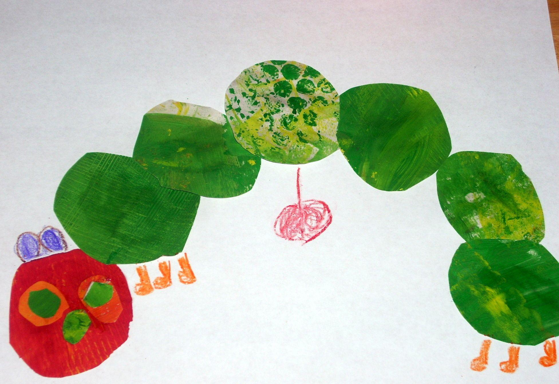 Diy Caterpillar Using Eric Carle S Techniques Paint Texture Cutouts