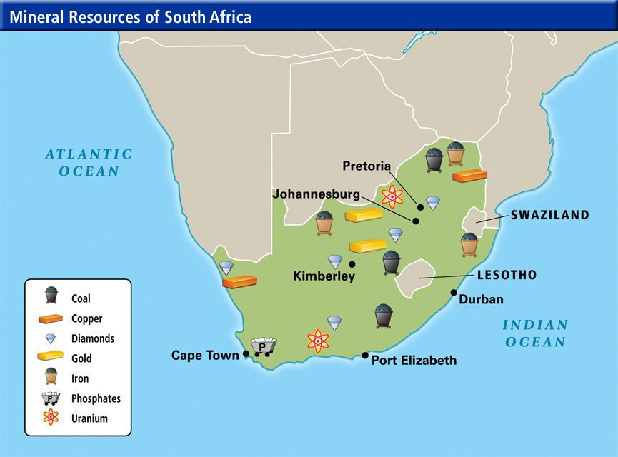 Africa Label Map South Minerals 8