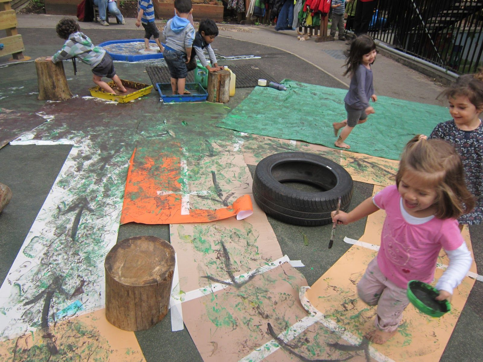 Fun dinosaur themed part idea- messy painty obstacle course! Dip feet in paint, go through course....