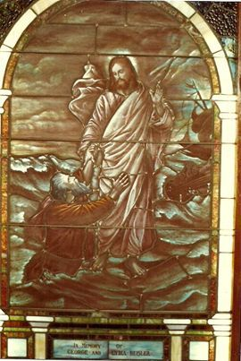 """East main sanctuary window of """"Peter Walking On Water"""", Heislerville United Methodist Church.  Thanks to Margaret (Peterson) and Andy Sarclette. <3"""