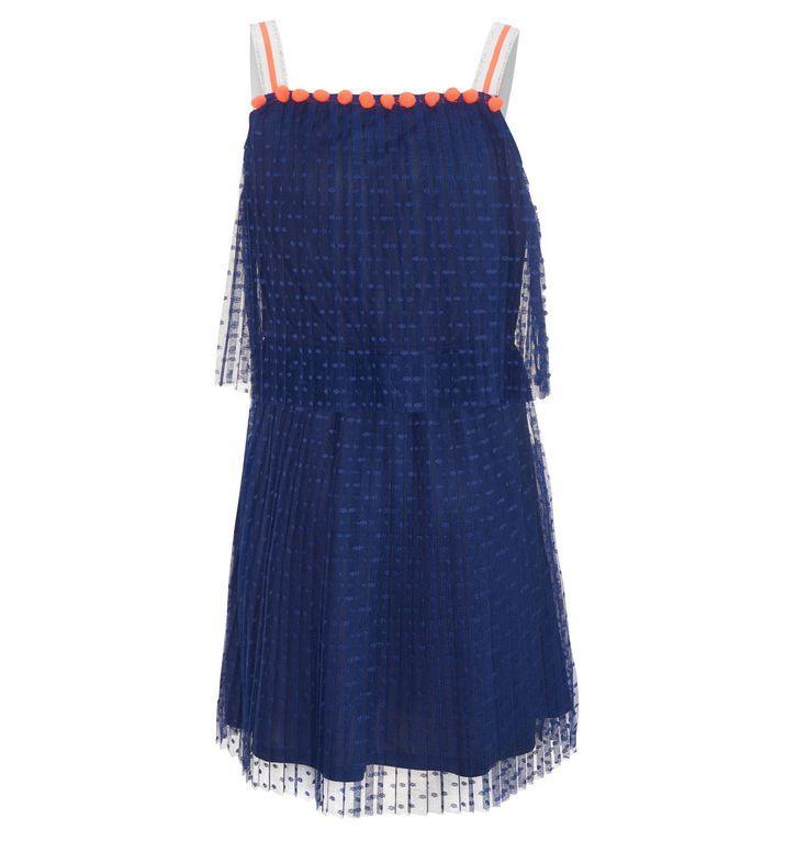 Kleid, Bommel, Spitze, Punkte, einfarbig, für Mädchen ...